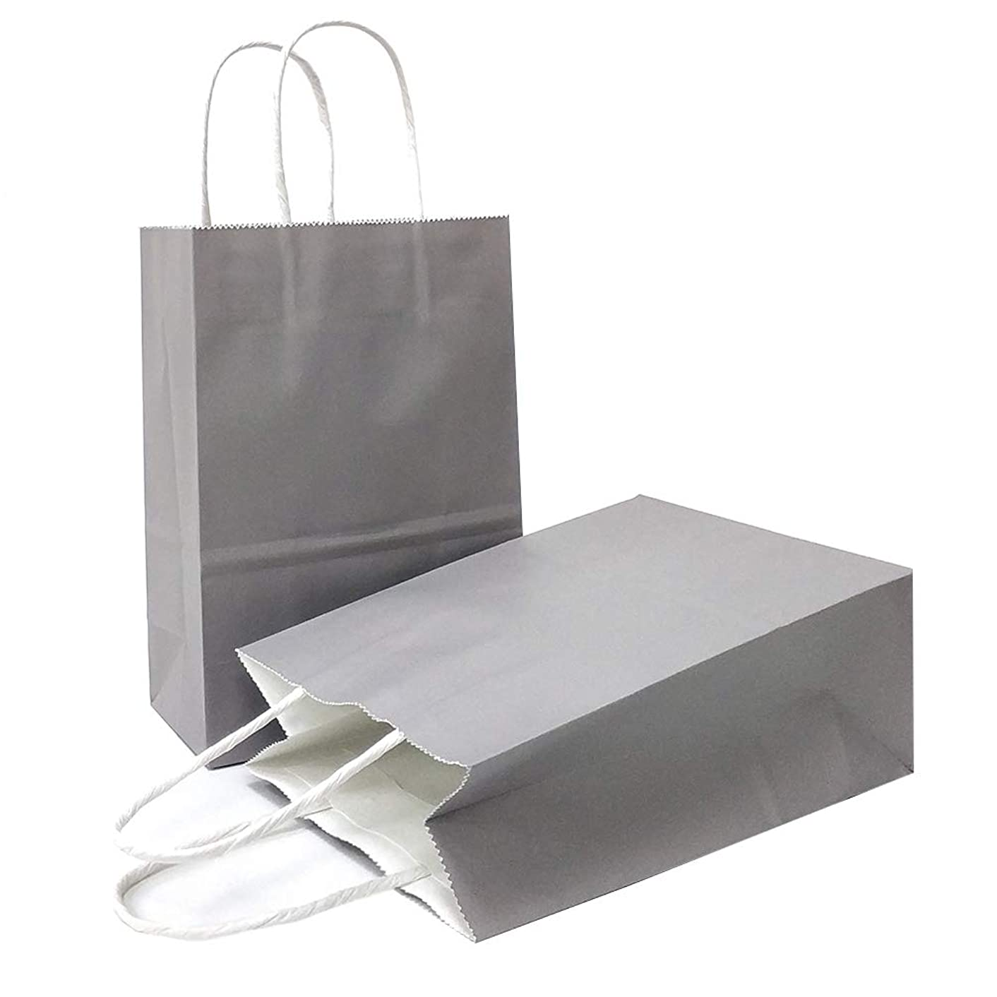 AZOWA Gift Bags Large Kraft Paper Bags with Handles (10.6 x 8.2 x 4.3 in, Grey, 25 Pcs)