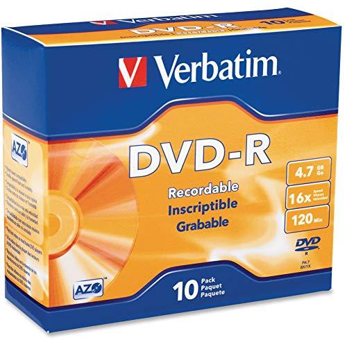 Verbatim AZO DVD-R 4.7GB 16X with Branded Surface - 10pk Slim Case, Silver