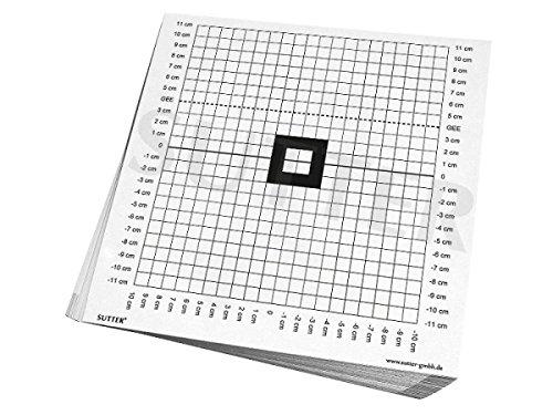SUTTER Zielscheiben & Anschussscheiben zum Einschießen und Kontrollschießen der Waffe/Zielscheiben 26x26cm / 50er Pack