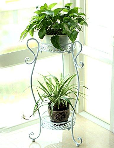 XIAOLIN- fer racks de fleurs style européen Deux couches atterrissage formule Rack pot de fleur salle de séjour balcon Intérieur et extérieur Pots étagère --Cadre de finition de fleurs ( Couleur : 3 , taille : 42*26*85cm )