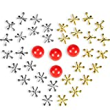 4 Set Jacks Game Toys Kit, Include 40 Pieces Metal Jacks and 4 Pieces Red Rubber Balls with Box for Kids and Adults