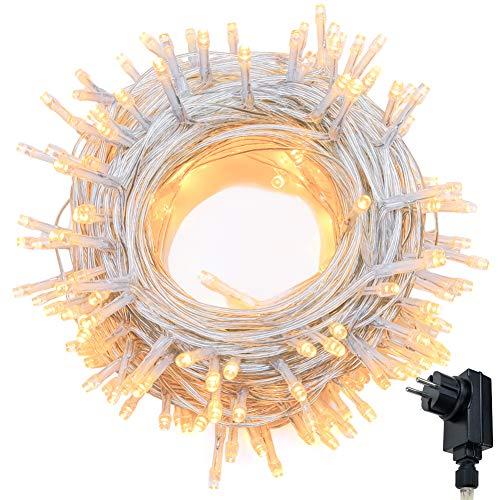 Cadena de Luces WISD 22.8M 200 LED Blanco Cálido Guirnalda de Luz Impermeable con 8 Modos y Función de Memoria, Cable de Color Transparente, Perfecto para Exterior e Interior, Navidad Fiestas Boda