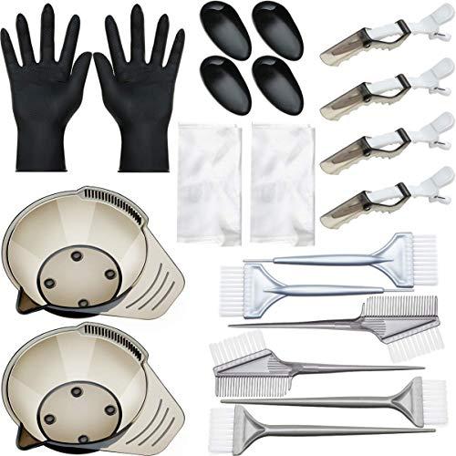 Pixnor 1 Set / 20Pcs Outils de Coloration Des Cheveux à La Maison Teinture Brosse à Cheveux Bol de Mélange Cache-Oreilles Gants Jetables Châle Pince à Cheveux pour Hommes Femmes (Noir)