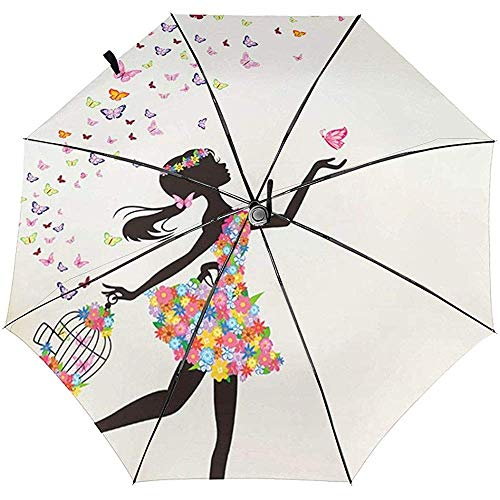 Mädchen tanzen Schmetterling gedruckt Winddicht Reisen Regenschirm - Winddicht, verstärkt Baldachin
