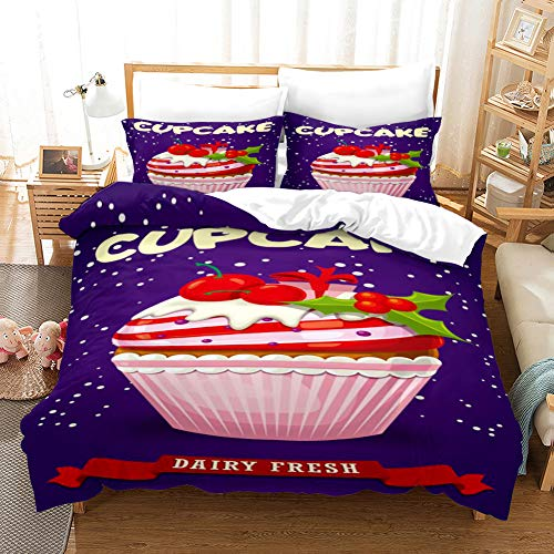 Duvet Cover Bedding Set Yellow blue red pink christmas fruit basket Single 53.15 x 78.74 inch Ultra Soft Easy Care With–Hotel Quality Bedding Sets 2 Pillowcase19.68 x 29.53 inch