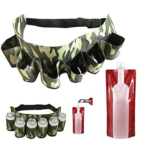 SENHAI Soporte para cinturón de cerveza, capacidad para 6 bebidas, bolsa de viaje de camuflaje con correa ajustable para senderismo, camping, playa, barbacoas, con 1 bolsa de vino plegable de 750 ml