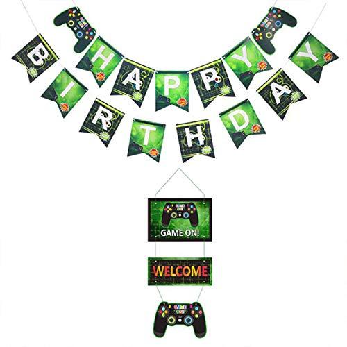 FLYFLY Decoraciones para Cumpleaños de Tema de Videojuegos con Happy Birthday Gaming Banner, Decoración Colgante de Bienvenida Conjunto de Suministros para para Fiesta de Cumpleaños de Niños (Verde)