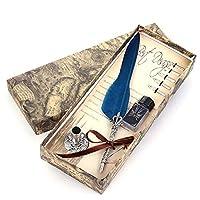 ペン 美しいカラーグースの羽ペンヴィンテージフェザーディップライティングインクのペンセットステーショナリーギフト10色クイル万年筆 万年筆 (Color : Navy Blue, Size : フリー)