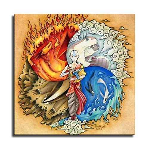 Póster de Avatar, leyenda de aang y arte de pared, impresión moderna para decoración de dormitorio familiar