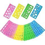 Plantillas de Dibujo de Plástico Conjunto de Plantilla para Niños, 74 Formas, 24 Piezas