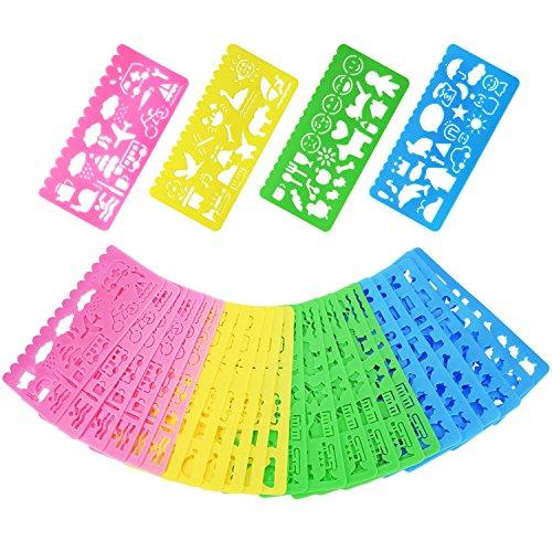 Outus Plantillas de Dibujo de Plástico Conjunto de Plantilla para Niños, 74 Formas, 24 Piezas