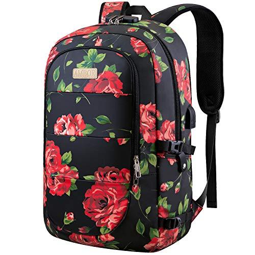 AMBOR Laptop Rucksack 17,3 Zoll,Business Travel Laptop-Rucksack mit USB-Ladeanschluss und Schloss, schlanke wasserfeste Tasche, Laptop-Rucksack-Tasche für Frauen Mädchen Business Reisen