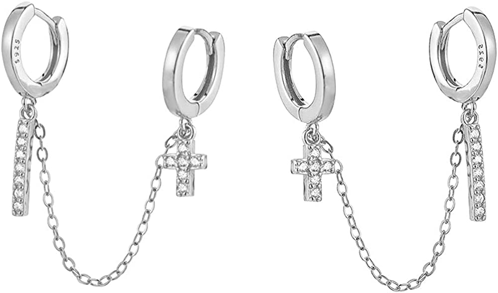CZ Cross Bar Double Piercing Cuff Dangle Chain SALENEW Genuine very popular Small Hoop D Wrap