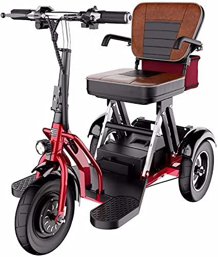 MTSS Scooter Eléctrico de 3 Ruedas, Personas Mayores Minusvalido, Motor de 300 w/Plegable Reversible/tracción en Dos Ruedas/Apto para Personas Mayores/discapacitadas y Adultos 55 km