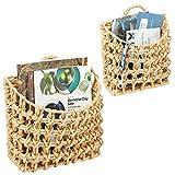 mDesign Juego de 2 cestos decorativos – Bonito cesto trenzado de jacinto de...