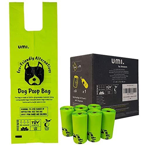 Amazon Brand - Umi Sacchetti Igienici Biodegradabili per Escrementi Cane - Origine Vegetale, Compostabili a Casa, Privi di Microplastica, Anti Perdita - 13 x 40 cm con Manici, 60 con Portasacchetti