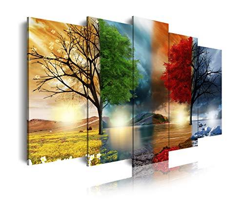 DekoArte 237 - Cuadros Modernos Impresión de Imagen Artística Digitalizada | Lienzo Decorativo para Tu Salón o Dormitorio | Estilo Paisaje Cuatro Estaciones del año Árboles Rojo | 5 Piezas 150x80cm