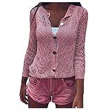 ReooLy Ladies suéter de Moda de Color sólido de Punto Hueco Rebeca Fina(Rosado,M)