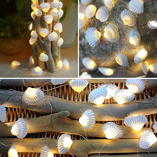 """SFgift Ocean Real Seashell 0.8""""(H) 40 LED String Lights 13.85Ft Battery Operated Waterproof Warm White with Timer and Remote Control for Beach Themed Decoration Indoor Covered Outdoor Birthday"""