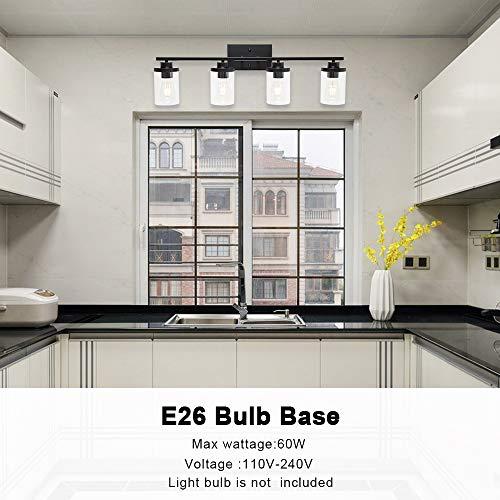 ELUZE 4-Lights Bathroom Vanity Light Fixtures Black Vintage Vanity Lighting with Clear Glass Shade Wall Mount Lamp for Bedroom Stairs Hallway Kitchen Vanity Mirror and Foyer