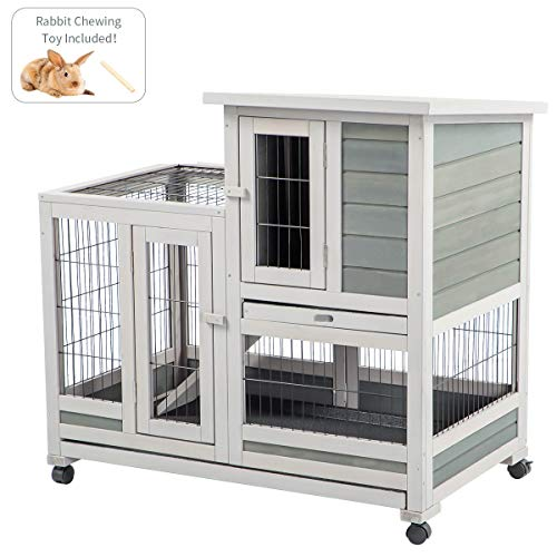 U-MAX Rabbit Hutch Pet House for Small Animals Guinea Pig House Rabbit Cage with Run Bunny House Indoor 4 Casters Removable No Leak Trays & Ladder (37 inches)