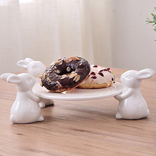 Häschen Patisserie Tortenplatte Porzellan,Geschirr für Tortenplatte Vintage, Süßer Kuchenständer, Geschirr Handwerk Geschirr Crafts Geschenk für Geschirr Liebhaber, Hochzeit, Muttertag (3 Häschen)