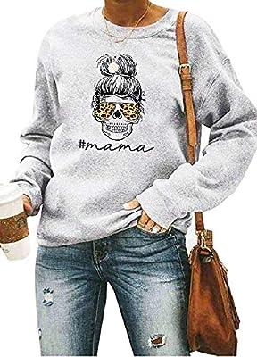 Mama Shirts Women Funny Mom Sweatshirt Leopard Skull Graphic Tee Casual Long Sleeve Pullover Tops Light Gray
