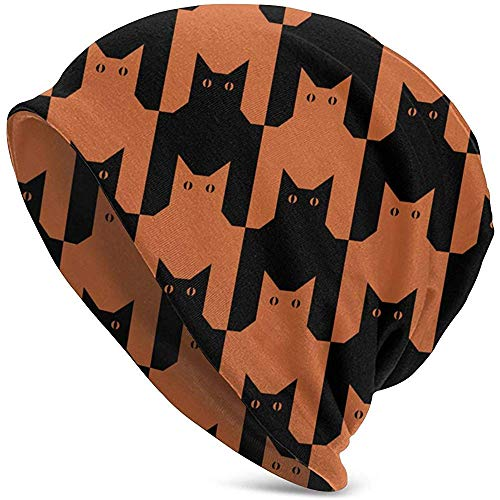 Gatos Pata de Gallo Naranja Animales Animales Salvajes Ilustraciones Clip Art Gorro de Punto Sombrero de Invierno Cálido, elástico Gorros Suaves para Hombres y Mujeres