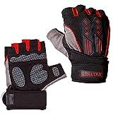 トレーニンググローブ メンズ フィットネス 筋トレグローブ ジムグローブ メンズ 指なし手袋 レッド L赤