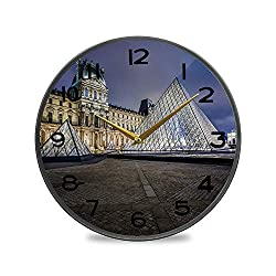 ALUONI Non-Ticking Acrylic Decorative Round Wall Clock The Louvre is One of The World's Largest Museums in Paris Vintage Rustic Country Tuscan Style Home Decor Round Wall Clock 9.5 No63923