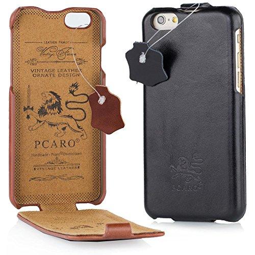 PCARO® Smooth Jazz Echtleder Hülle für Apple-iPhone-7-iPhone-8 Handmade Rindsleder Leder Tasche in Schwarz - Ledertasche inkl. Display Schutzfolie - ORIGINAL Cover