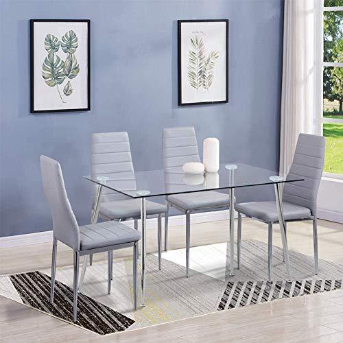 GOLDFAN Esstisch Glas mit 4 Grau Stühlen Essgruppe Wohnzimmertisch und 4 Stuhl küchentisch Tische Set