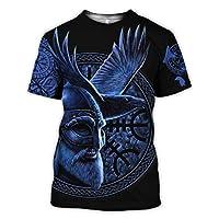 バイキングTシャツ、3DプリントNordic Myth Thor Hammer Fenrir Wolf Tattoo半袖コスプレシャツ(11米国サイズ),Odin blue,5XL