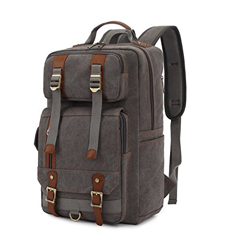 BLUBOON Mens Backpacks Vintage Canvas Rucksack with Large Capacity for Outdoor/Hiking/College (Grey)