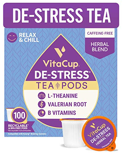 VitaCup DeStress Herbal Tea Pods w/ Chamomile, L-Theanine & Lavender for Anxiety Relief, Relax & Chill in Recyclable Single Serve Pod Compatible with K-Cup Brewers Including Keurig 2.0, 100 CT
