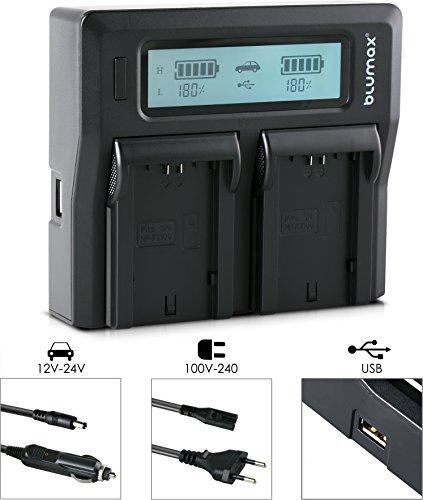 Blumax Dual-Ladegerät kompatibel mit Sony NP-FZ100 Schnell-Lader LCD-Anzeige für Alpha 7RM3, 7M3 / 7iii / 7Riii / 7RIV / Alpha 6600 / A9ii/A9S BC-QZ1