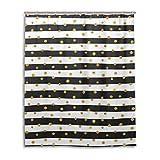 JSTEL Decor Duschvorhang mit goldfarbenen Punkten, Weiß & Schwarz gestreift, 100prozent Polyester-Stoff, Duschvorhang, 152,4 x 182,9 cm, für Zuhause, Badezimmer, dekorative Duschvorhänge