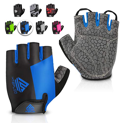 HTZPLOO Bike Gloves Cycling Gloves Mountain Bike Gloves for Men with Anti-slip Shock-absorbing Pad,Light Weight,Nice Fit,Half Finger Biking Gloves (Blue,Large)