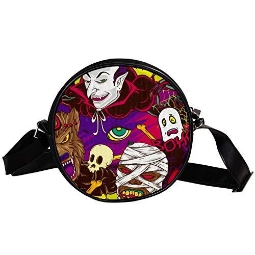 halloween element diagonale tasche runde crossbody geldbörse umhängetasche mode kreis crossbody umhängetasche mini leinwand schräge schultertasche