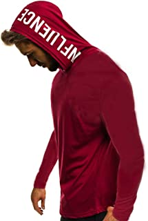 WUAI Men's Casual Shirts Hooded Sweatshirt Long Sleeve Loose Fit Letter Printed Fashion Hoodie Top