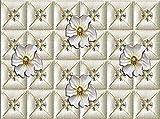 XHXI Papel tapiz Mural de pared 3D Relieve tridimensional 3XL Papel tapiz de pared lateral Celosía de flores p Pared Pintado Papel tapiz Decoración dormitorio Fotomural sala sofá mural-400cm×280cm