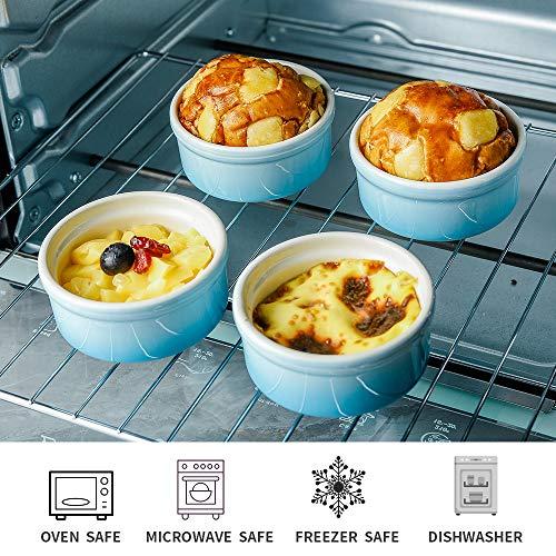 Joyroom Bakeware Set of 6, Ceramic Baking Dish Set Includes 9 x 13 Inches Lasagna Pan, Square Baking Pan and Ramekins for Cooking, Kitchen, Circle Collection (Blue)