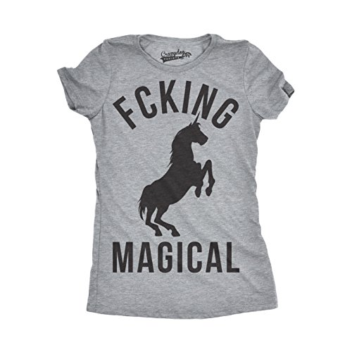 Womens Magical Funny T Shirts Unicorn Vintage Tees Cool Hilarious Novelty T Shirt (Heather Grey) - L