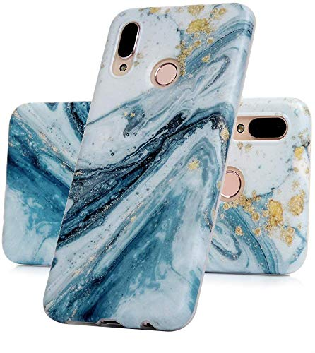 Vogu'SaNa Kompatible für Handyhülle Samsung Galaxy A40 Hülle Silikon Matt Marmor Muster Hülle Cover Marble Tasche Dünn Schutzhülle Handytasche Skin Softcase Schale Bumper TPU Handycover-Blau Sea