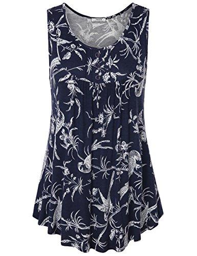 Youtalia Womens Summer Sleeveless Scoop Neck Shirts Pleats Flowy Tunic Tank Multicolor Blue Large