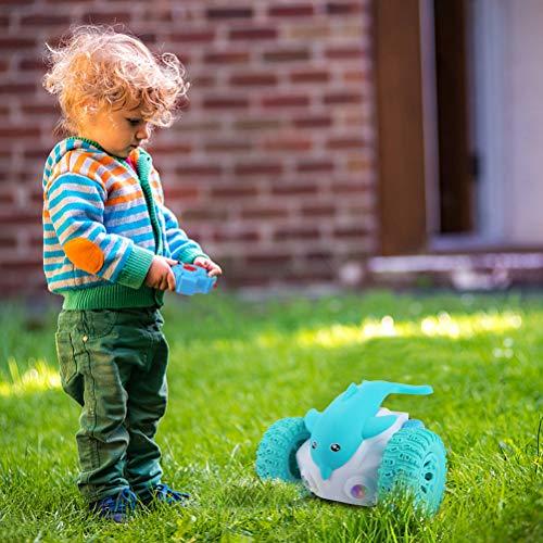 Katyma Coche de Control Remoto RC Dolphin Dancing Devil Fish Dancing Stunt Twisting Car con luz LED Coche de Juguete Robot de Juguete para Regalo para niños