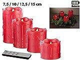 Britesta Adventsdeko-Kerzen-Kranz: Adventskranz mit roten LED-Kerzen, rot geschmückt (Weihnachtsschmuck LED-Beleuchtung) - 8