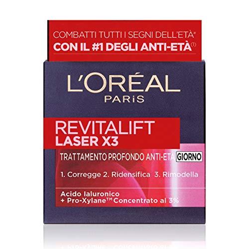 L Oréal Paris Crema Viso Giorno Revitalift Laser X3, Azione Antirughe Anti-Età con Acido Ialuronico e Pro-Xylane, 50 ml