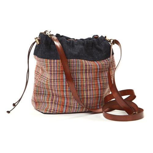 Hobo-Tasche in farbigen Polstern, kleine Stoff-Umhängetasche, Mini-Damentasche