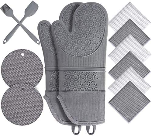Oven Mitts and Pot Holders Sets Heat Resistant Silicone Oven Mittens with Mini Oven Gloves and product image